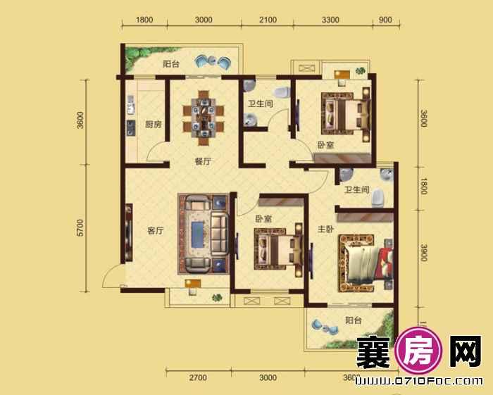 卧龙公馆5#6#楼南北朝向D1户型 3室2厅2卫1厨