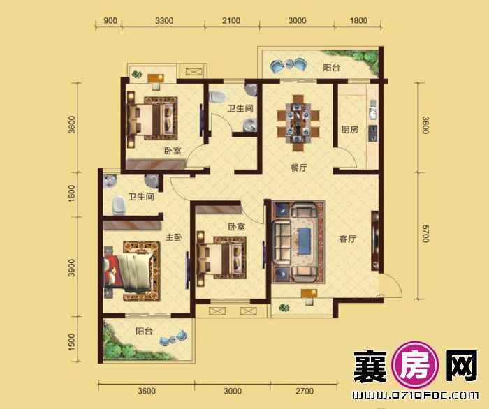 卧龙公馆5#6#楼南北朝向D2户型 3室2厅2卫1厨