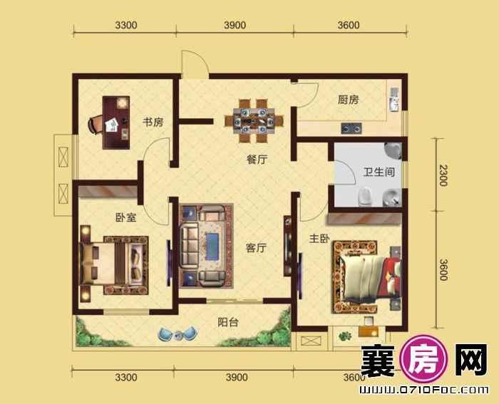 卧龙公馆5#6#楼南北朝向D3户型 3室2厅1卫1厨