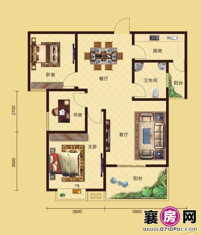 卧龙公馆7#8#楼朝南B3户型 3室2厅1卫1厨