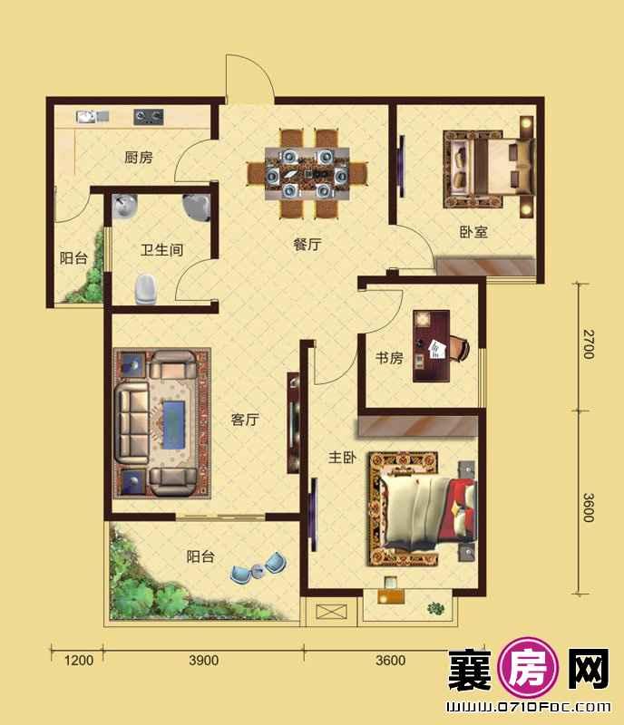 卧龙公馆7#8#楼朝南B4户型 3室2厅1卫1厨