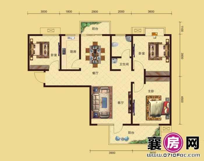 卧龙公馆7#8#楼南北朝向B2户型 3室2厅1卫1厨