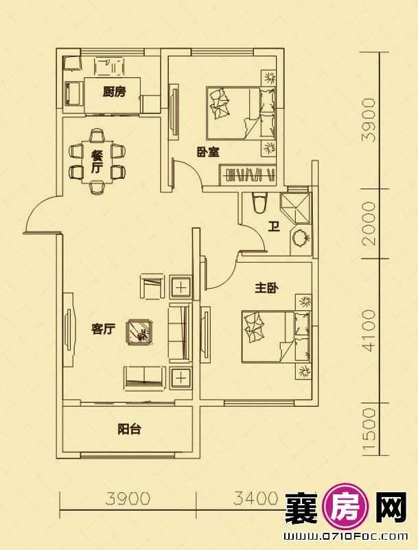 世纪荣华5#6#楼南北朝向C3户型 2室2厅1卫1厨