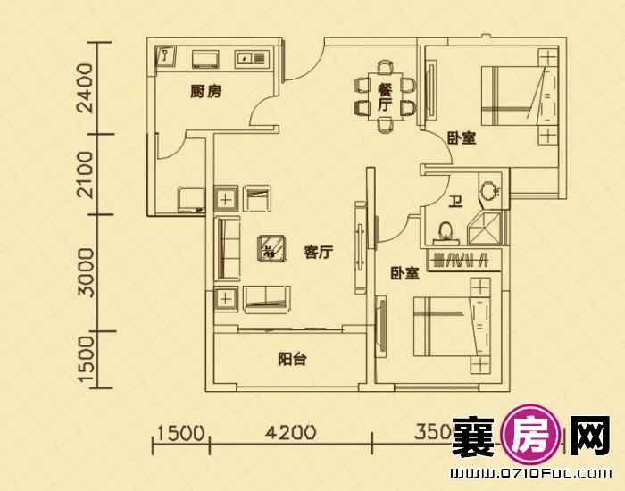世纪荣华7#楼朝南A2户型 2室2厅1卫1厨