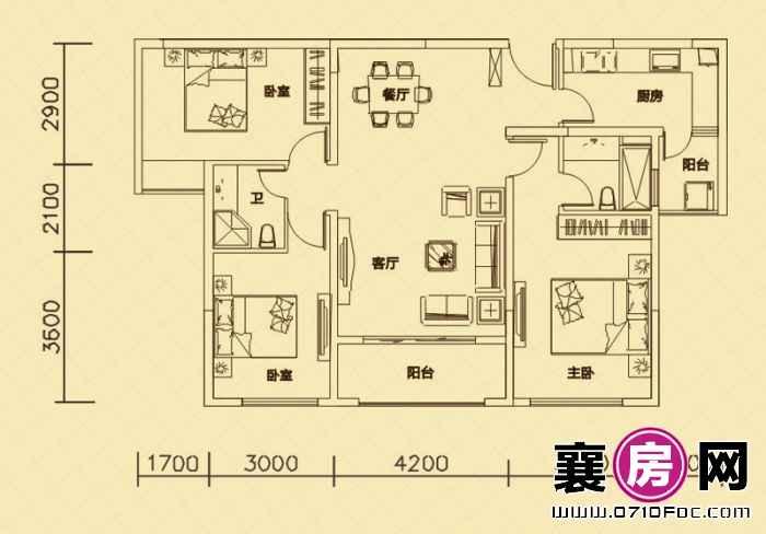 世纪荣华3#4#楼朝南B2户型 3室2厅2卫1厨