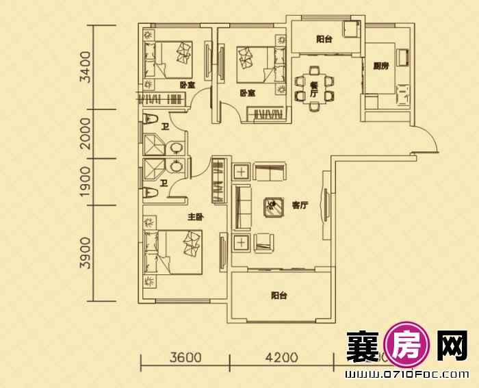 世纪荣华3#4#楼南北朝向B1户型 3室2厅2卫1厨