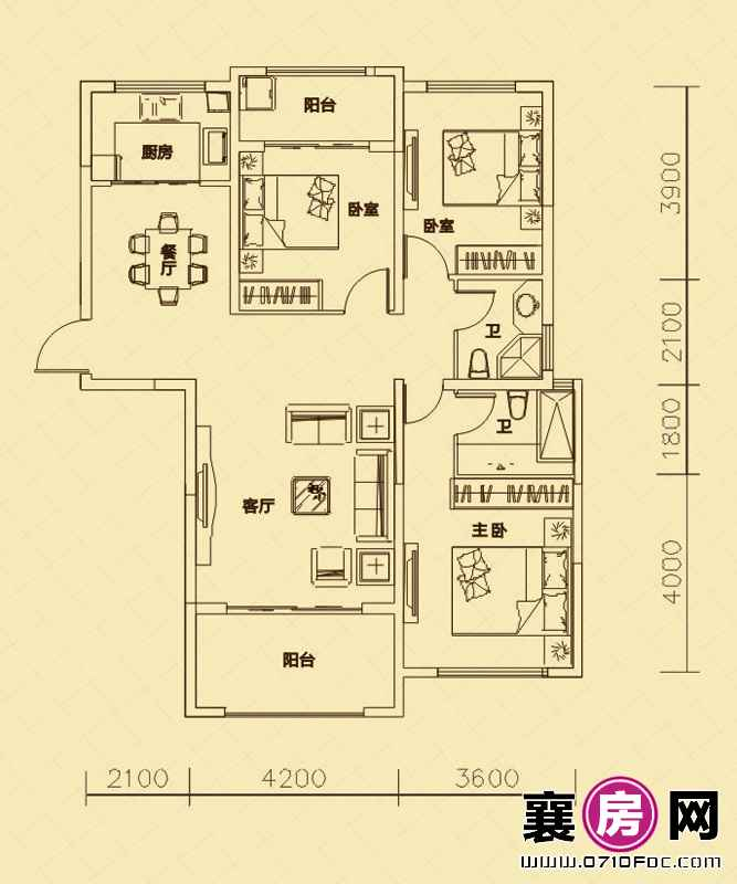 世纪荣华3#4#楼南北朝向B3户型 3室2厅2卫1厨