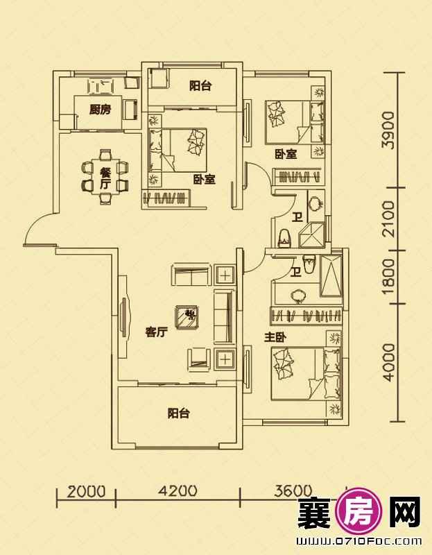 世纪荣华7#楼南北朝向A3户型 3室2厅2卫1厨