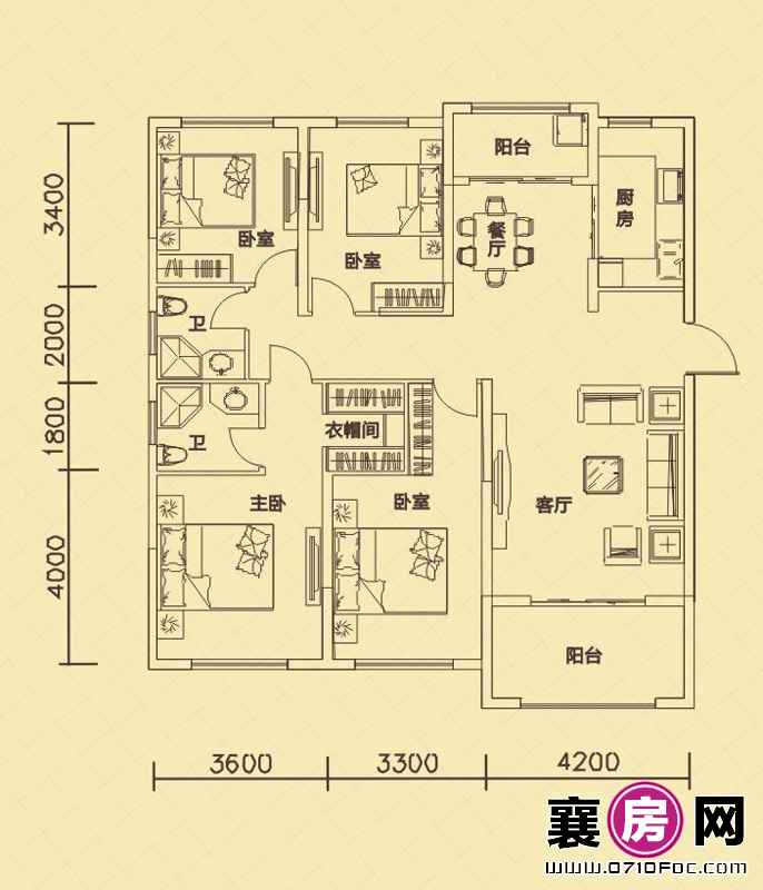 世纪荣华7#楼南北朝向A1户型 4室2厅2卫1厨