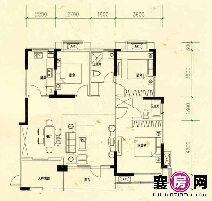 山水檀溪山水家园12#13#15#楼南北朝向A1户型 3室2厅2卫1厨