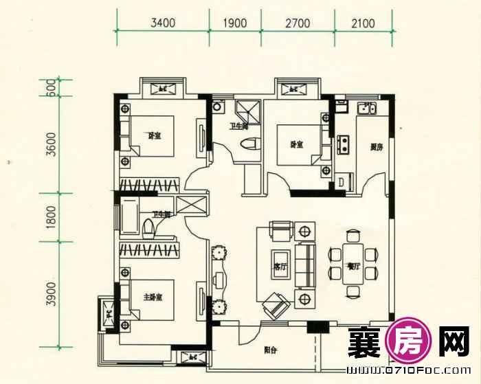 山水檀溪山水家园12#13#15#楼南北朝向A2户型 3室2厅2卫1厨