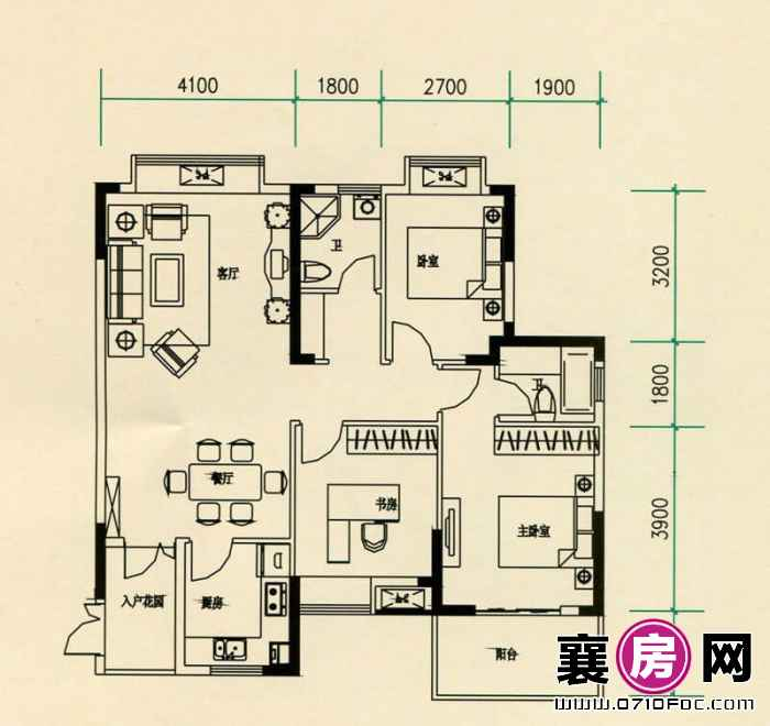 山水檀溪山水家园19-22#楼23#25#26#楼南北朝向A9户型 3室2厅1卫1厨