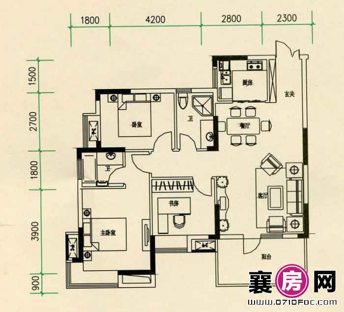 山水檀溪山水家园19-22#楼25#26#楼朝南A7户型 3室2厅2卫1厨
