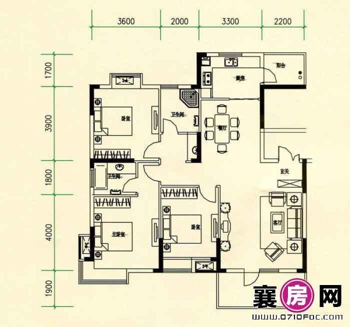 山水檀溪山水家园19-22#楼25#26#楼南北朝向A4户型 3室2厅2卫1厨