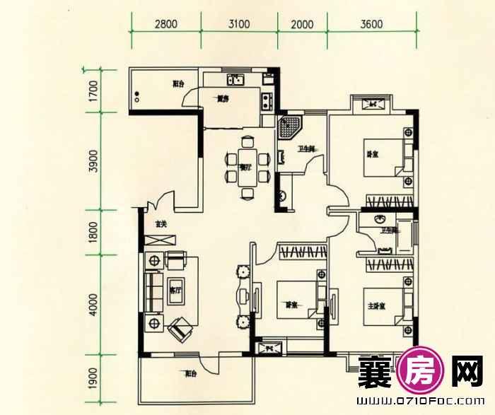 山水檀溪山水家园19-22#楼25#26#楼南北朝向A5户型 3室2厅2卫1厨
