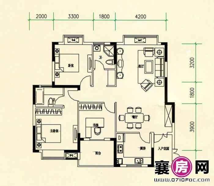 山水檀溪山水家园19-22#楼25#26#楼南北朝向A6户型 3室2厅2卫1厨