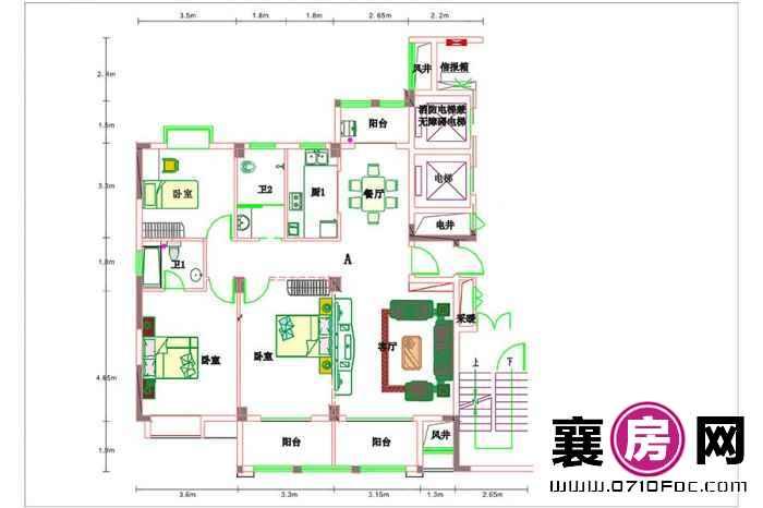东风佳园6#楼户型 3室2厅2卫1厨