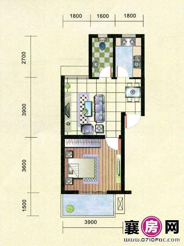 1#楼朝南A-1户型 1室2厅1卫1厨