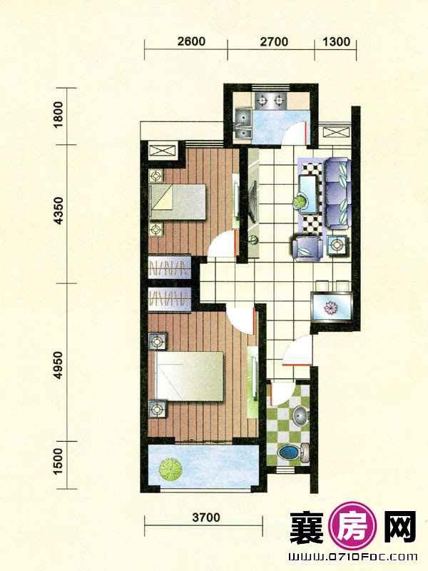 1#楼朝南B-1户型 2室2厅1卫1厨