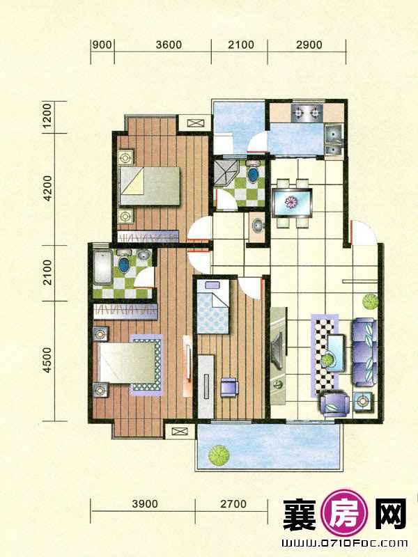 6#楼南北朝向E户型 3室2厅2卫1厨