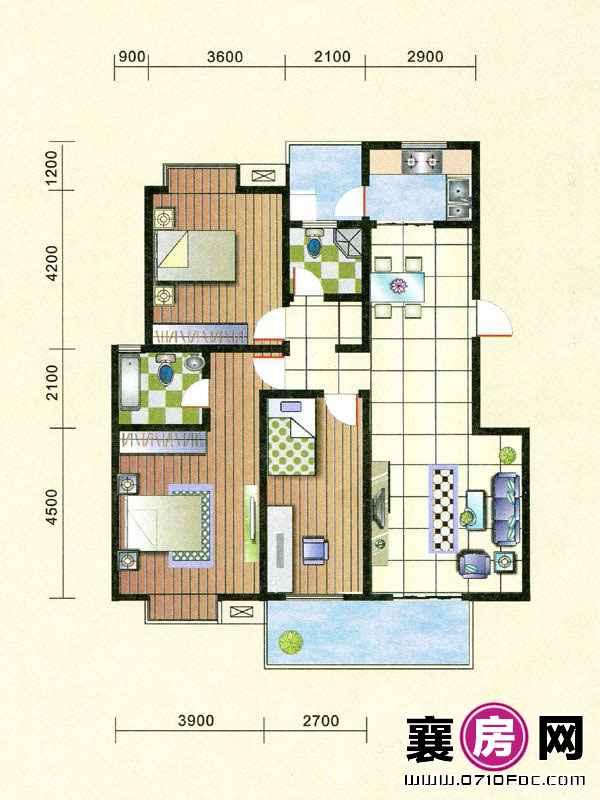 12#14#15#楼朝南F户型 3室2厅2卫1厨