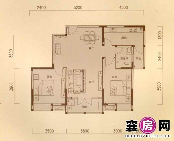 一期5#朝南E户型 2室2厅1卫1厨