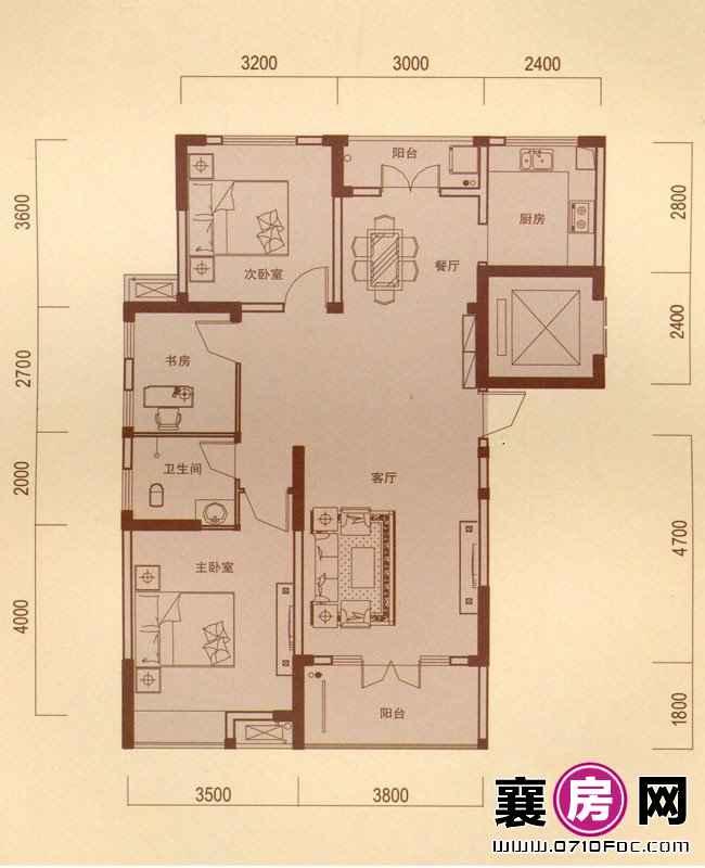 一期1#朝南A户型 3室2厅1卫1厨