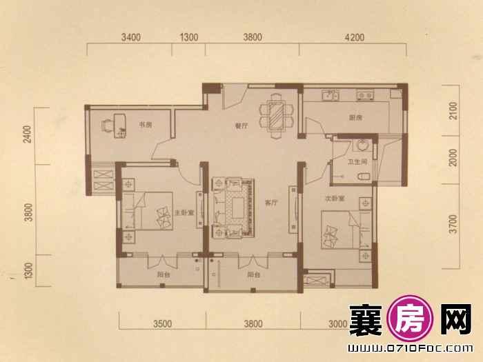 一期1#朝南B户型 3室2厅1卫1厨