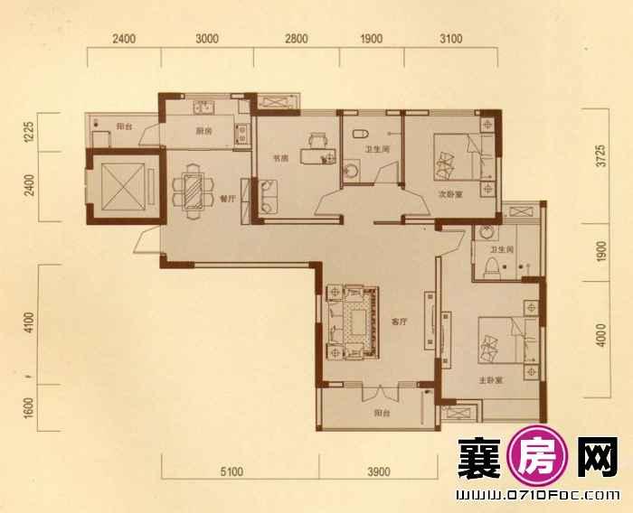 一期1#朝南C户型 3室2厅2卫1厨