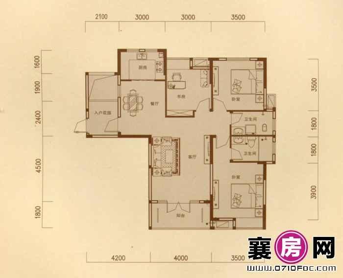 一期5#朝南D户型 3室2厅2卫1厨