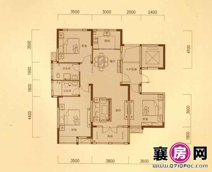 一期5#朝南F户型 3室2厅2卫1厨