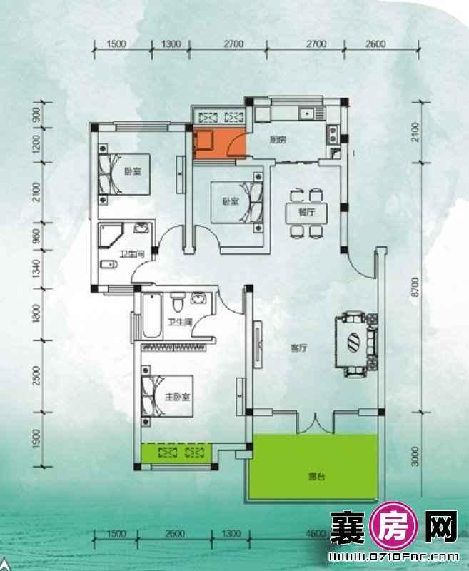 东湖国际花园望湖花漾三房 3室2厅2卫1厨