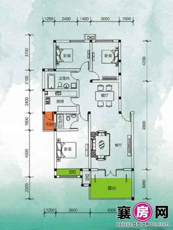 东湖国际花园望湖阔湖三房 3室2厅2卫1厨