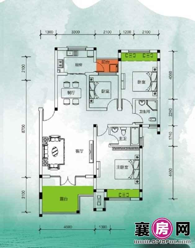 东湖国际花园望湖美漾三房 3室2厅2卫1厨