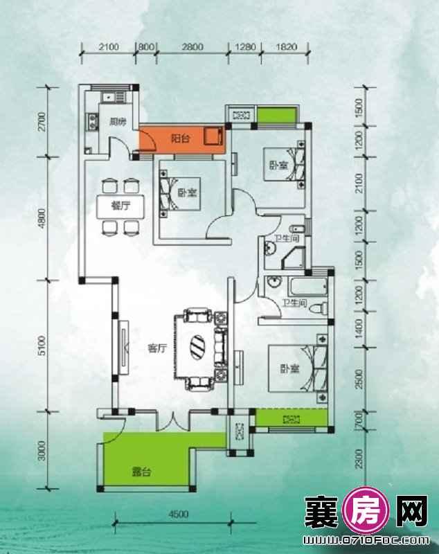 东湖国际花园望湖品值三房 3室2厅2卫1厨