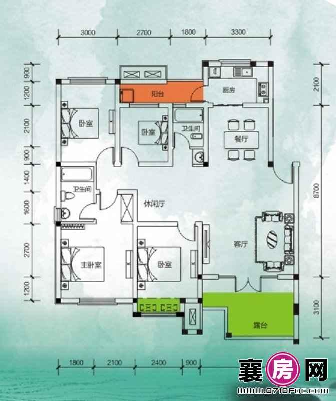 东湖国际花园望湖听湖四房 4室2厅2卫1厨