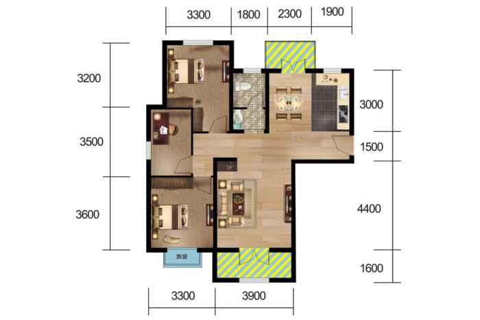 3#、5#楼 G户型 3室2厅1厨1卫