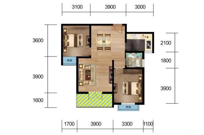 3#、5#楼 H户型 2室2厅1厨1卫