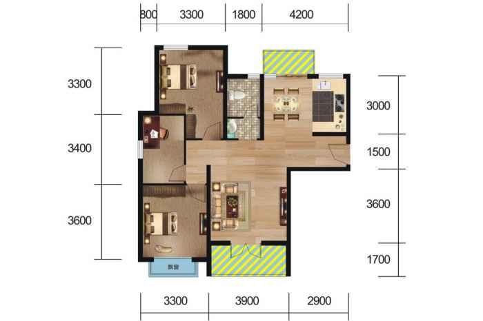 4#、6#楼 k户型 3室2厅1厨1卫