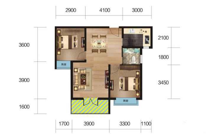 4#、6#楼 L户型 2室2厅1厨1卫