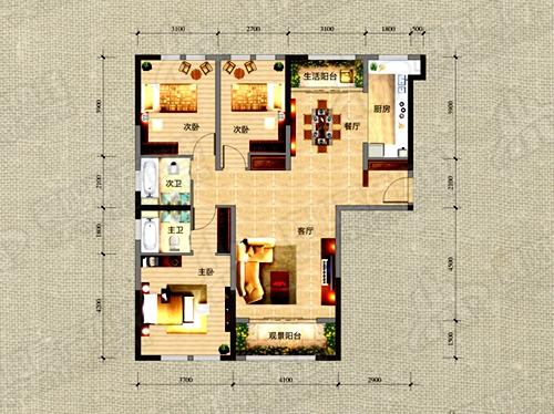 F1户型137.25㎡三室两厅