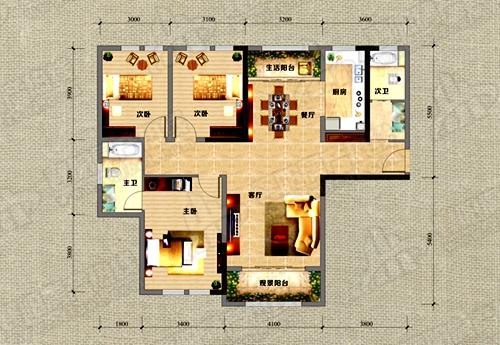 A1户型135.49㎡的三房两厅