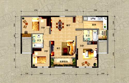 F2户型124.25㎡三室两厅