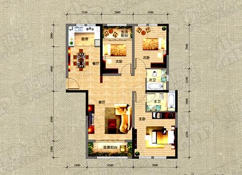 F3户型126.71㎡三室两厅