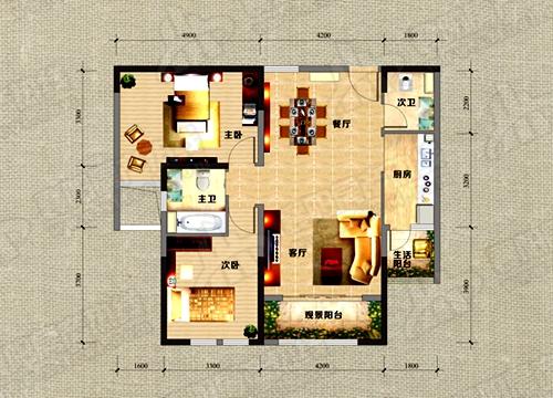 A2户型106.08㎡两室两厅