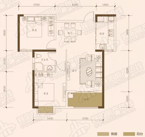 B2三室两厅两卫,面积约为122㎡
