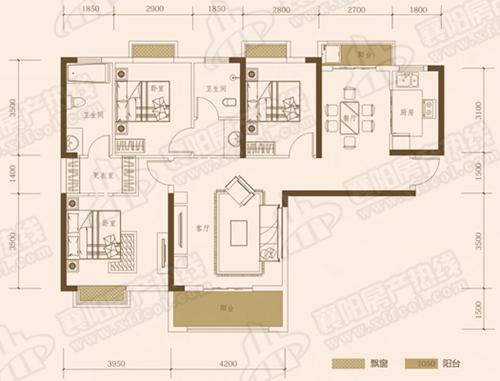 E1三室两厅两卫,面积约为126㎡