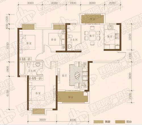 C1三室两厅两卫,面积约为127㎡
