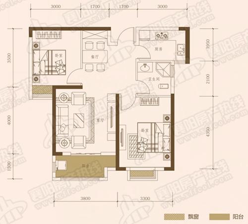 A2三室两厅两卫,面积约为119㎡