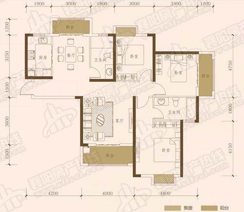 C2三室两厅两卫,面积约为129㎡